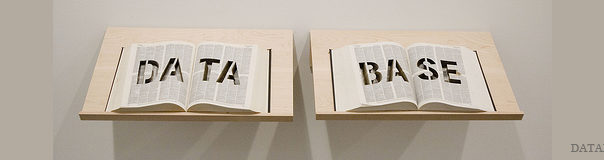 """Two open books that read """"data"""" and """"base"""""""