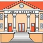 Clip art image of a public library building