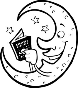 The moon reading a book