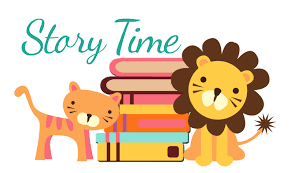 Cartoon lion and tiger in front of books. Story time logo