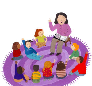 Clip art image of a woman reading to children in a circle