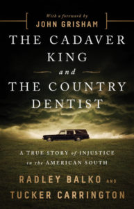 Cover of The Cadaver King and the Country Dentist, showing a hearse under a storm cloud