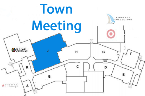 mall map with town meeting space hightlighted