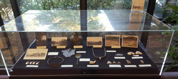 Native American artifacts on display in the local history exhibit