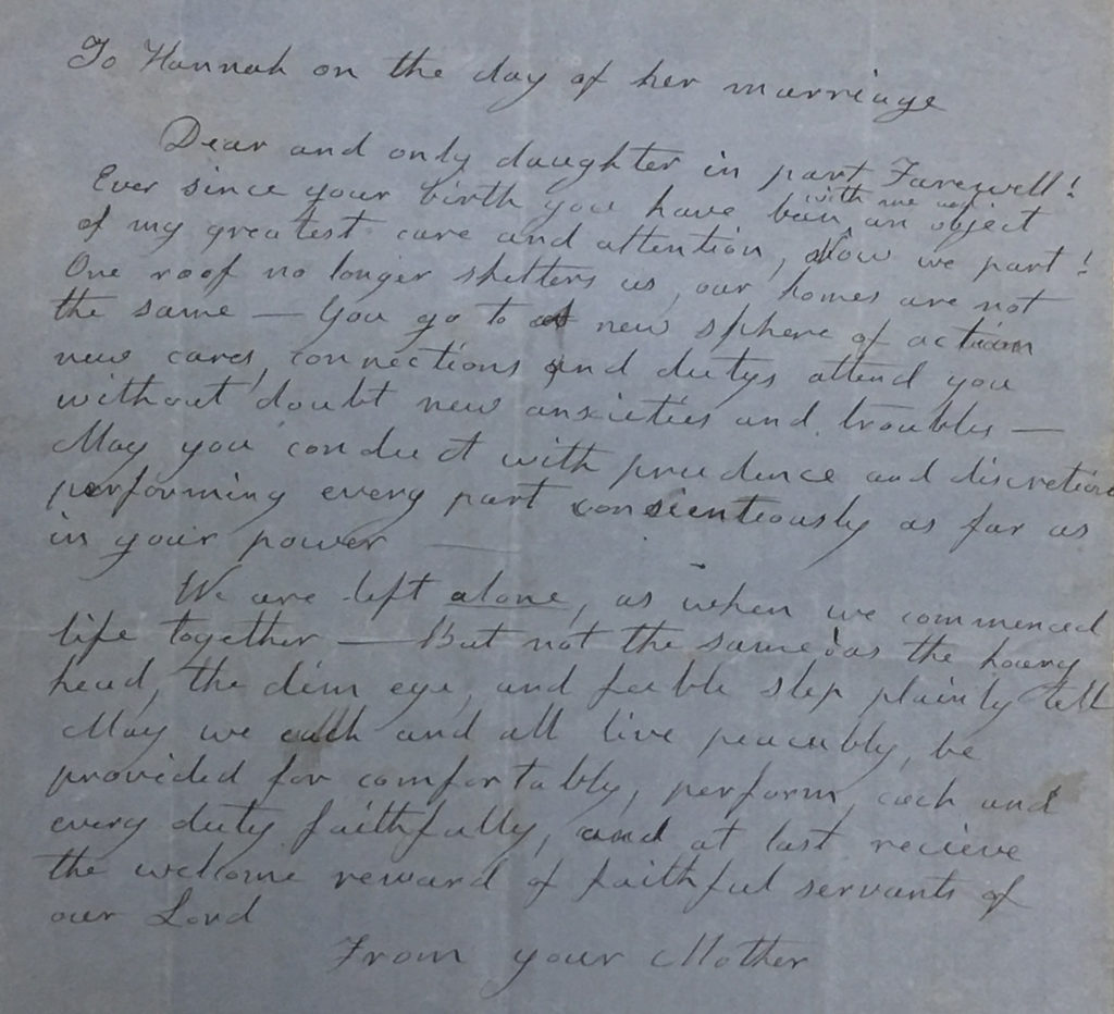Note from Hannah Thomas Brewster Adams to Hannah Thomas Adams, likely January 1, 1857