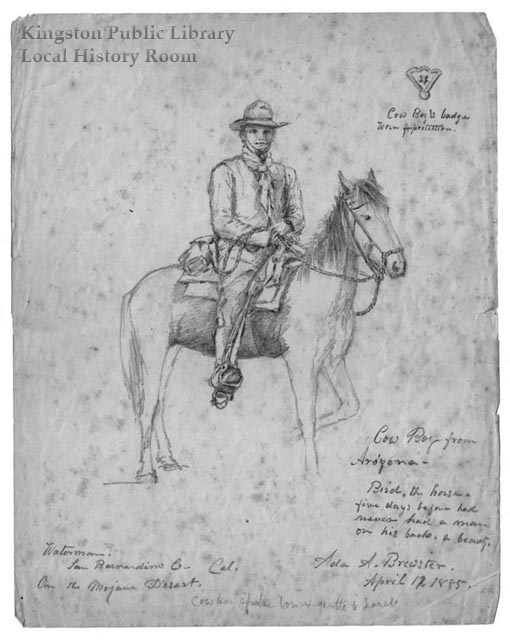 "Sketch captioned ""Cow Boy from Arizona,"" dated April 19, 1885"