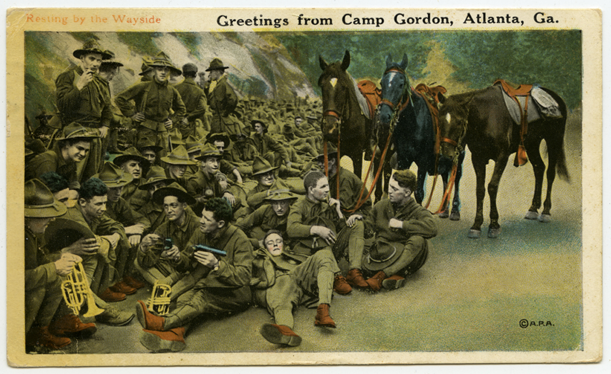 "Postcard with image of soldiers and horses, captioned ""Greetings from Camp Gordon, Atlanta, Ga."""