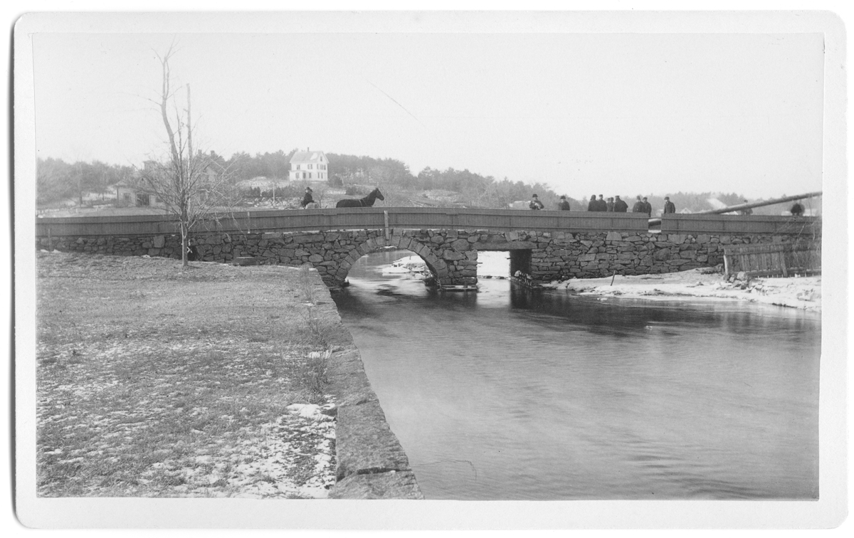 Panel card of Great Bridge over Jones River, view looking West