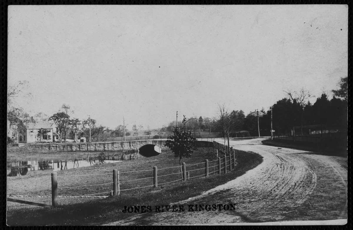 Black and white postcard of Jones River and Great Bridge
