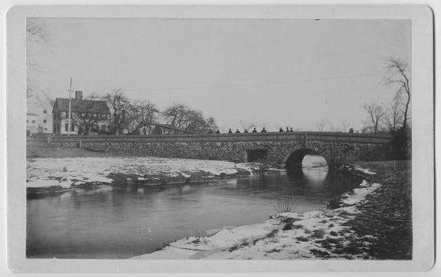 Panel card of Great Bridge over the Jones River, view looking East