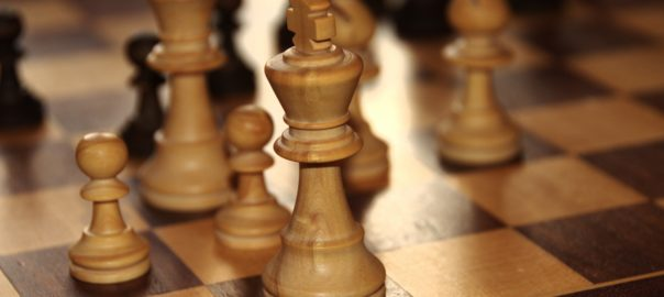Closeup of chessboard