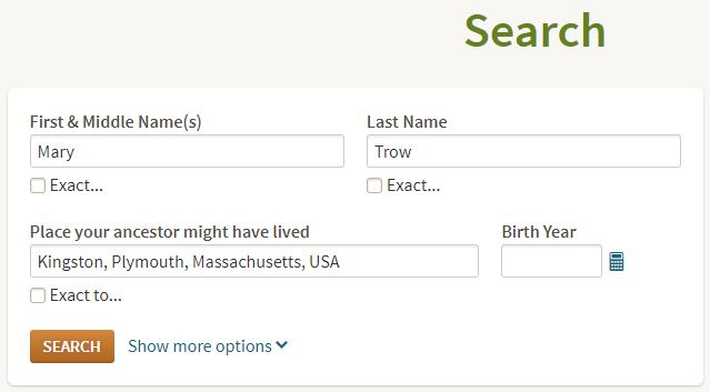 Screenshot of Ancestry search fields
