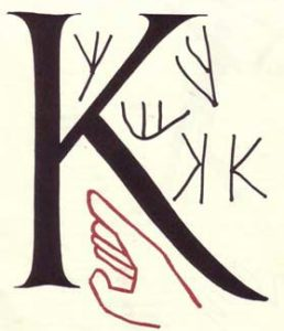 The hand image evolved through Egyptian, Phoenician, Greek writing into the Roman capital K..
