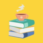 stack of books, cup of coffee