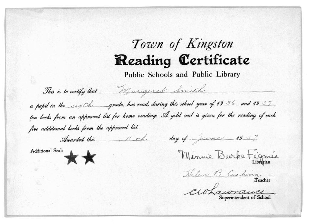 Reading Certificate for Margaret Smith from the Town of Kingston Public Schools and Public Library, June 11, 1937