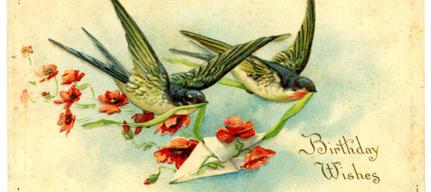 Birds carrying a card with ribbons and flowers