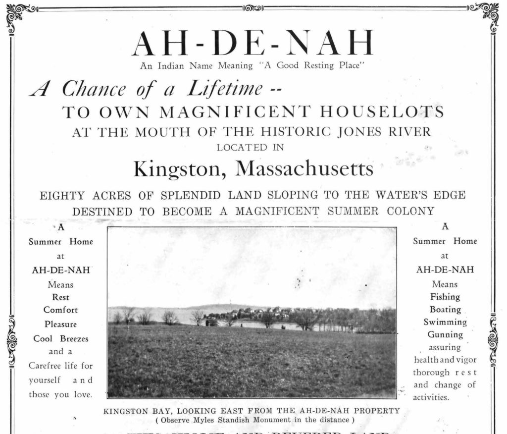 Brochure for land sales at Ah-De-Nah, in Kingston, around 1930