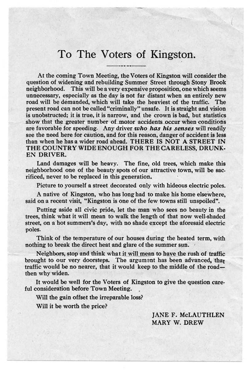 Handbill about the removal of trees required by a proposed project to widen Summer Street, March 1927