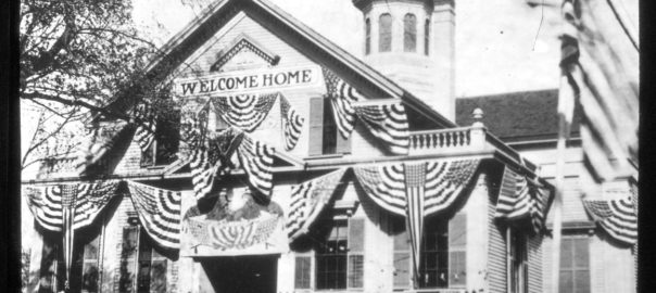 Kingston Town House decorated for Welcome Home Day, 1919
