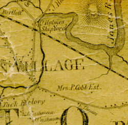 Detail of the 1857 Plymouth County wall map