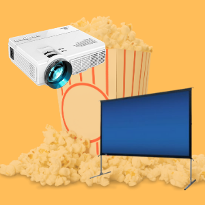 projector & screen with popcorn in the background