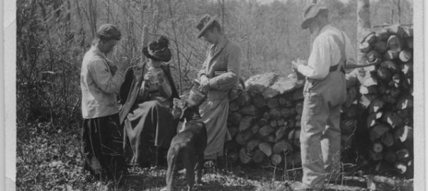 "Unidentified man (""Father""), three partially identified women ""Mother, Annie, Grace""), and dog called Lead in James Rickards's wood lot"