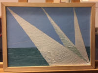 Movement of a sailboat's sail from left to right