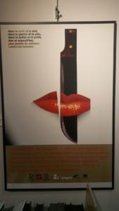 Poster showing a knife cutting through a woman's lips