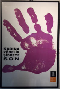Poster of a large purple hand print