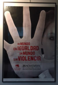 Poster with closeup of woman's hand