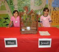 Alison Emily Abboud with her parakeets Jewel and Blue-best in show