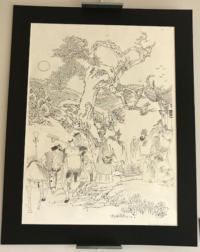 Pencil drawing of men performing a ceremony under a tree.