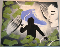 A man holding a sneaker with praying hands and money in the background.