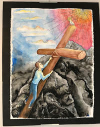 A man pushing a cross with a bird on top up towards the sun.