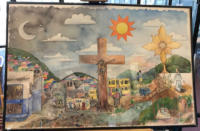 A modern interpretation of the crucifixion of Jesus.  The image is of Jesus on the cross in front of a color town.