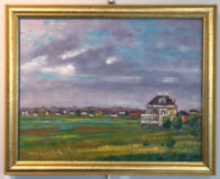 House in an open field
