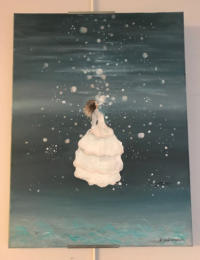 A woman in a white dress underwater