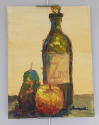Still life - wine bottle with an apple and a pear