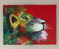 A lion with a red background