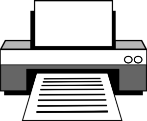 line drawing of a computer printer